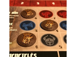 Blood Rage clan tokens for the board game