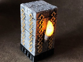 Dwarven Torch Pillar with Flickering LED Flame