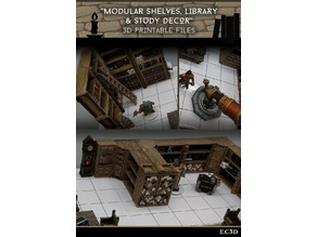 Modular Shelves - Library & Study Decor - 28mm Gaming - Sample Items