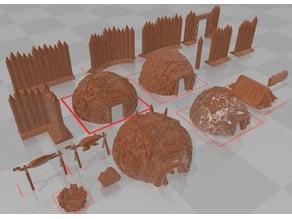 Primitive Huts, Tent, Palisade, Campfire for 28mm Wargaming and RPGs