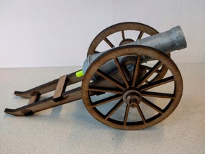 Laser cut cannon carriage.