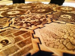 Lasercut tiles for Settlers of Catan