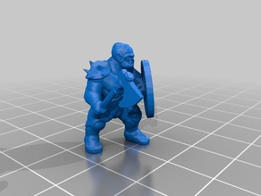 18mm orcs for D&D in dynamic pose with weapon and shield