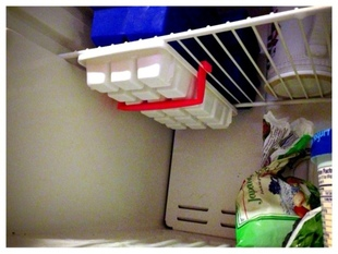 Ice cube tray freezer hanger.