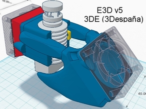 E3D Double Fan 2x40mm +  zip tie hook / Adaptador hotend E3D ventiladores 40mm + sujeccion adicional brida