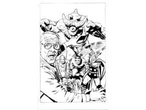 Mike Mayhew Original MONSTERS UNLEASHED #1 STAN LEE Variant Cover B&W Art