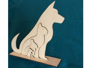 Animal Silhouette - Dog Cat Rabbit Mouse - Lasercut
