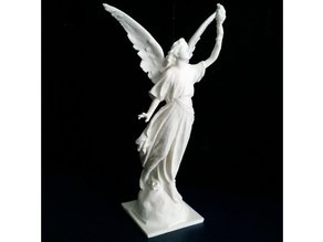 Angel statue with fire