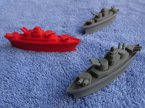 BATTLESHIPS - with Rotating Gun Turrets (No support required)