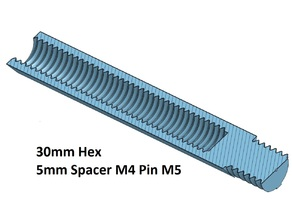 Hex 5 Spacer, Standoff 10, 20, 30, 40, 50, 60, 70, 80, 90, 100 mm; M4 Pin M5
