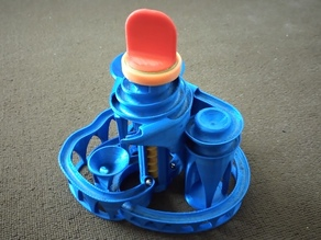 Big button for easy spin to the cyclone: triple lift triple track marble machine