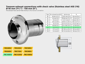 """Replacement part for Vetus TRC100SV - stainless steel transom exhaust connection 4"""""""