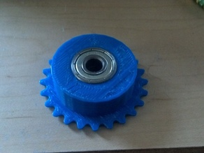 #25 Chain sprocket - 24 tooth w/ bearings