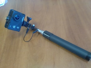 Mount action camera on selfie stick. GoPro compatible.