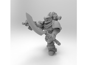 Mk2 Marine Squad Leader with Occult Power Sword and Occult Glaive Staff