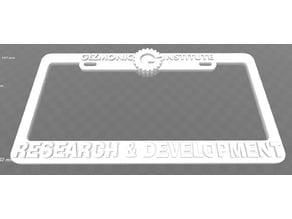 Gizmonic Institute - Research & Development License Plate Frame, MST3K