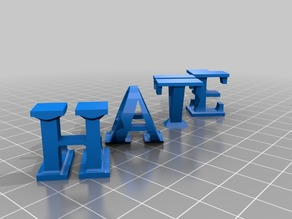 HATE LOVE Typographic Sculpture