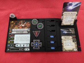 X-Wing modular pilot card, actions, upgrades and shield tray