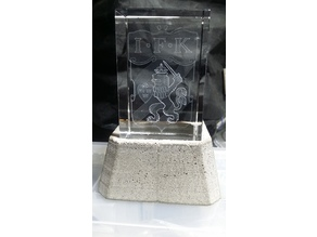Laser etched glass cube stand (Concrete mold)