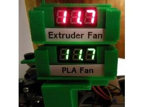 Mini Voltmeter Label Slide-On and Label Clips for the 40mm Extruder / 40mm PLA Fan mount.