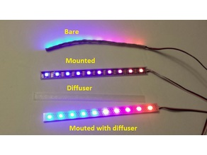 Flexible LED strip mount and diffuser