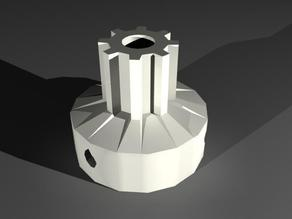 Mendel X-axis drive pulley with a round hole and 3 screws to hold it