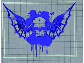 skull bat wings splash
