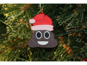 Poop Emoji With Santa Hat Christmas Ornament