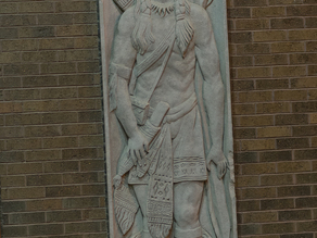 Limestone Indian Warrior Bas Relief Panel