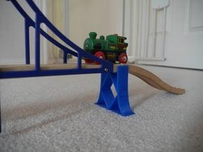 Wooden railway bridge support