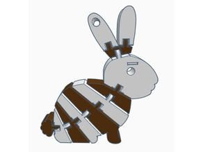 Two Color Flexi Bunny Keychain