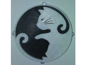 Yin Yang Cat Fridge Magnet & Ornament / IEC3D