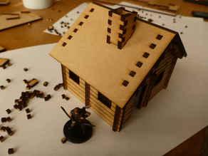 Medium size lasercut log cabin for 28 mm(ish) tabletop gaming