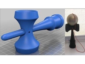 Accurate Kendama w/ String Holes (2 parts + ball, w/ Inventor files)