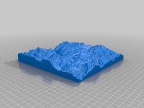 3D map of Zermatt valley and Matterhorn in Switzerland