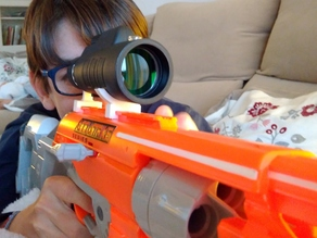 Real scope holder for Nerf guns