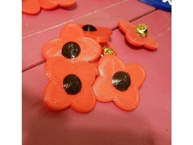 Poppy Veterans Day Poppy By Buzzerco Thingiverse