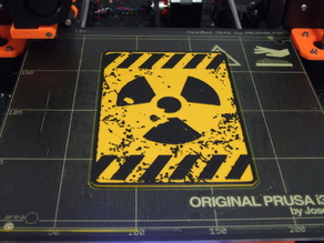 Radioactive sign (2 colors), single extrusion version