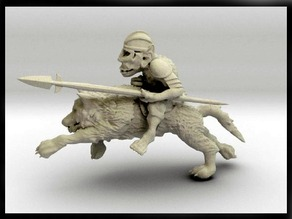 52mm Goblin Knight Charging on Giant Wolf