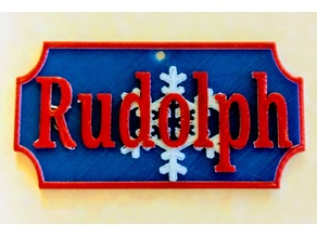 Rudolph Name or Gift Tag with Blank Multicolored
