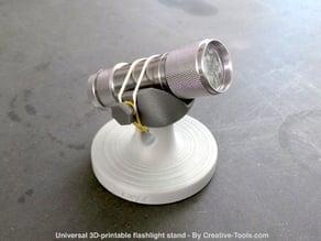 Universal 3D-printable flashlight stand