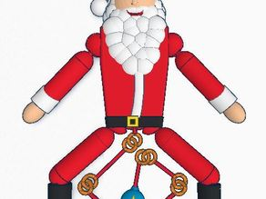 Pre-assembled pull chain toy Santa Ornament