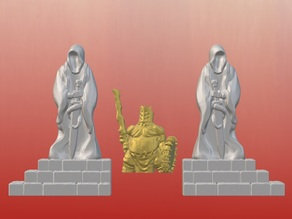 Dark Gothic Corner Statues (28mm/32mm scale)