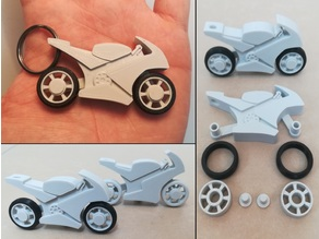 motorcycle keychain with spinning wheels