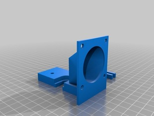 Parametric Groove Mount with hotend fan mount + duct + adgiustable fan for colling material
