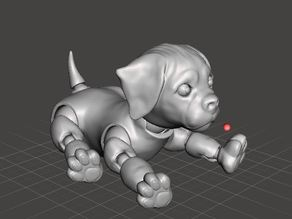 3d Jointed Puppy Dog Lying Down