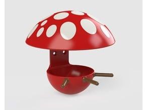 Multicolor mushroom fat ball birdhouse feeder