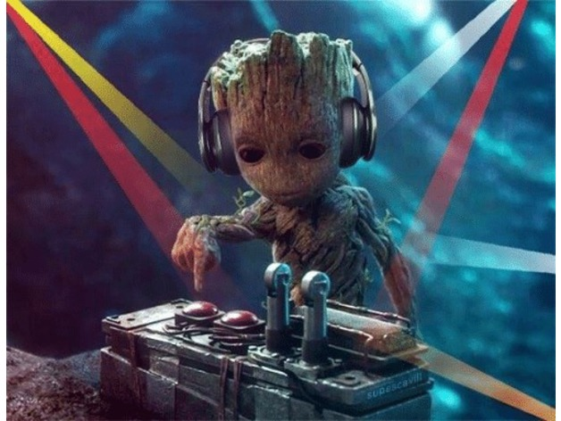 Dj Baby Groot Dropping Beats Lithophane By