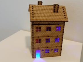 LED lighted lasercut multi storey brick house