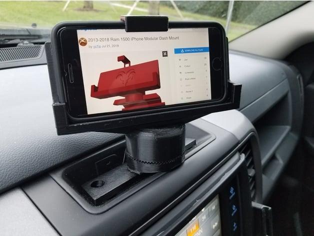 ram  iphone modular dash mount   gstip thingiverse